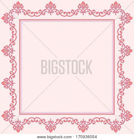 Classic square frame with arabesques and orient elements. Abstract fine ornament with place for text. Pink pattern