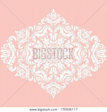 Elegant ornament in the style of barogue. Abstract traditional pattern with oriental elements. Pink and white pattern