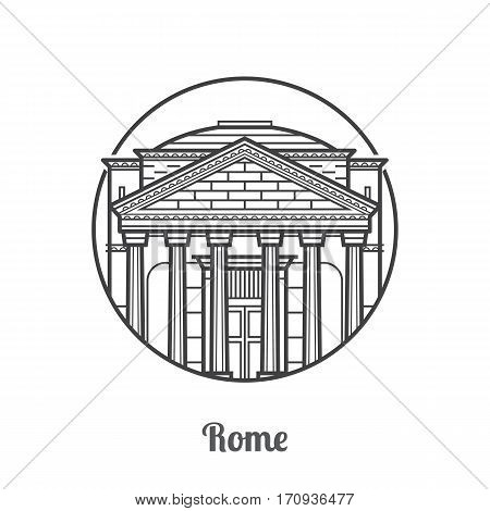 Travel Rome icon. Parthenon is one of the famous landmarks and tourist attractions in capital of Italy. Thin line ancient column temple icon in circle.