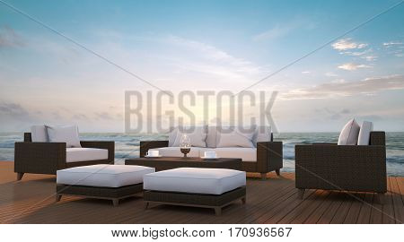 Sea side terrace and living area 3d rendering imageA place surrounded by the sea There are wood floor and rattan furniture