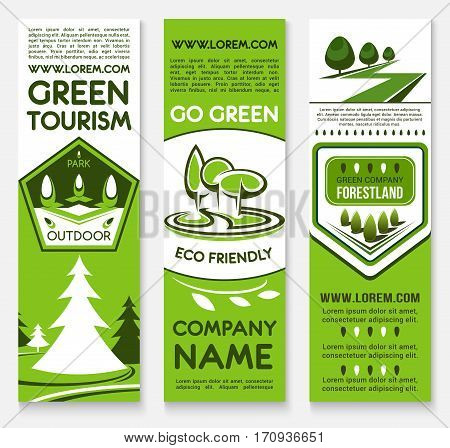 Ecotourism business template banner set. Forest and park nature landscape with green trees, plants, grass lawns and text layout. Promotion poster, advertising brochure, company card design
