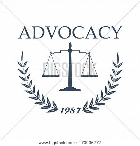 Lawyer office, law firm heraldic symbol. Scale of justice sign with laurel wreath and foundation date for legal protection, advocacy service, law office logo and emblem design