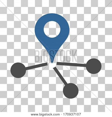 Geo Network icon. Vector illustration style is flat iconic bicolor symbol cobalt and gray colors transparent background. Designed for web and software interfaces.