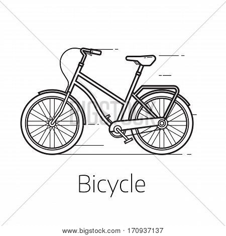 Alternative city transport street bicycle in thin line design. Modern eco friendly vehicle and personal transportation gadget. Urban bike outline design vector illustration.