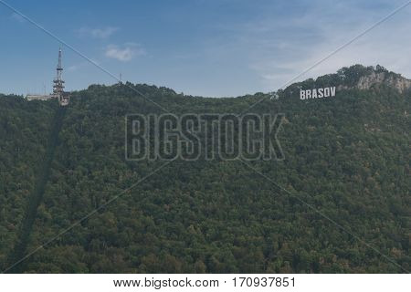 Brasov, Transylvania, Romania - September 22 2016 : Brasov Logo on hill