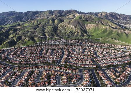 Hillside suburban homes in the Porter Ranch neighborhood of Los Angeles, California.