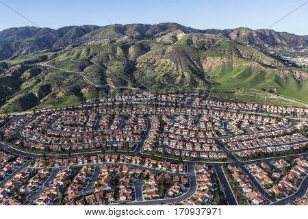 Hillside suburban homes in the Porter Ranch neighborhood of Los Angeles, California.