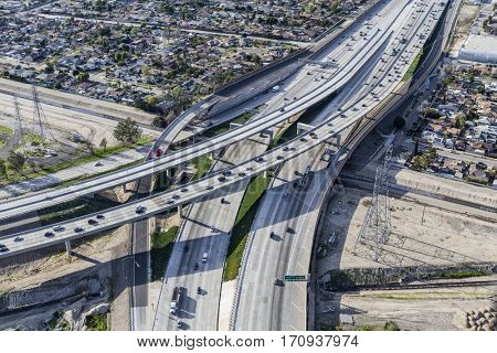 Aerial view of the Golden State 5 and Hollywood 170 freeway interchange ramps in Los Angeles, California.