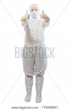 Chemist Woman Is Successful In His Work Portrait On White Background