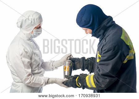 Fireman sends container with radiation chemist in the laboratory on a white background