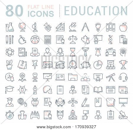 Set vector line icons in flat design education school and university with elements for mobile concepts and web apps. Collection modern infographic logo and pictogram.