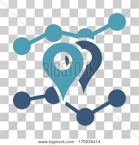 Geo Trends icon. Vector illustration style is flat iconic bicolor symbol cyan and blue colors transparent background. Designed for web and software interfaces.
