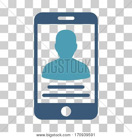 Mobile Account icon. Vector illustration style is flat iconic bicolor symbol cyan and blue colors transparent background. Designed for web and software interfaces.