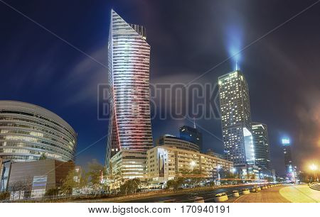 Warsaw,Poland- October 2016:Warsaw city with skyscrapers at nightmodern city center of Warsaw