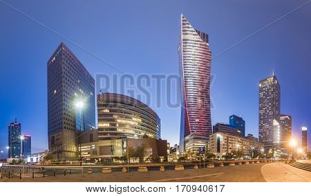 Warsaw,Poland October 2016:Warsaw city with skyscrapers at nightmodern city center of Warsaw