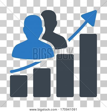Audience Growth Bar Chart icon. Vector illustration style is flat iconic bicolor symbol smooth blue colors transparent background. Designed for web and software interfaces.