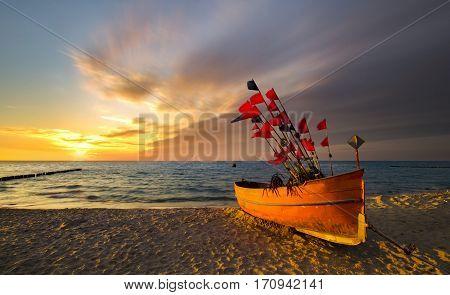 sunset over the sea Baltic Sea Poland