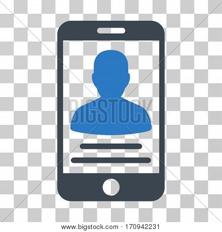 Mobile Account icon. Vector illustration style is flat iconic bicolor symbol smooth blue colors transparent background. Designed for web and software interfaces.