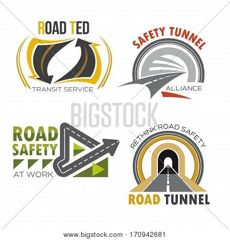 Road and highway symbol set. Road tunnel and freeway interchange sign for road and traffic safety badge, transit service emblem, transportation themes design