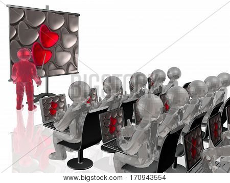 Red and grey hearts on the background 3D illustration.