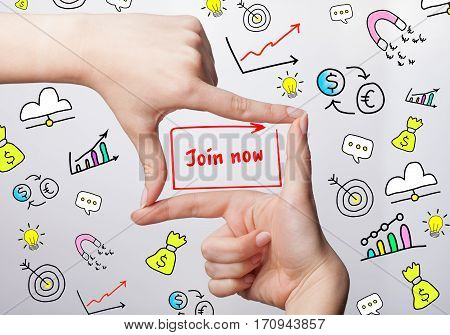 Technology, Internet, Business And Marketing. Young Business Woman Writing Word: Join Now