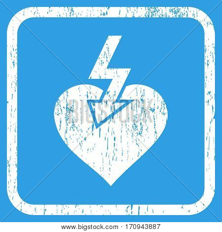 Heart Shock Strike rubber watermark. Vector icon symbol inside rounded rectangular frame with grunge design and unclean texture. Stamp seal illustration. Unclean white ink emblem on a blue background.