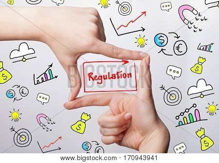 Technology, Internet, Business And Marketing. Young Business Woman Writing Word: Regulation