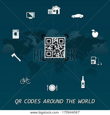 QR Codes around the world - quick response codes business infographic on the center of the world map