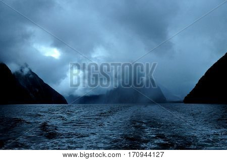 Mysterious Fiord Milford Sound at sunset, South Island, New Zealand