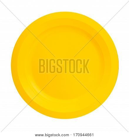 Plate isolated on a white background. plate top view . yellow plate .