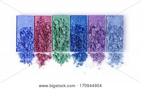 Colored Crashed Eyeshadow For Makeup As Sample Of Cosmetic Product