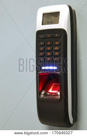 Finger scan security for entry server room. An Fingerprint machine server safety
