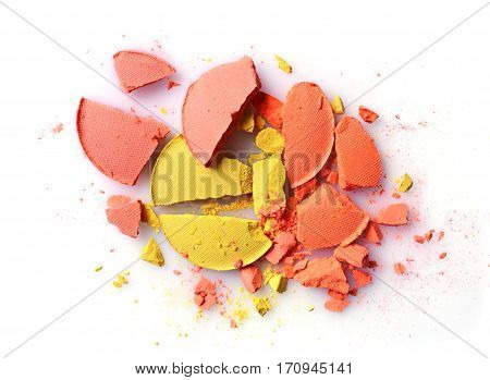 Orange And Yellow Crashed Eyeshadow For Makeup As Sample Of Cosmetic Product