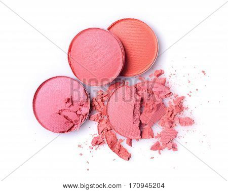 Round Pink Crashed Eyeshadow For Makeup As Sample Of Cosmetic Product