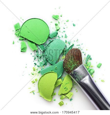 Green Crashed Eyeshadow For Make Up As Sample Of Cosmetic Product