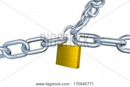 3D illustration of Three Big Metallic Chains Locked with a Padlock with a white background
