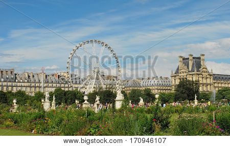 Tuileries Garden belongs to one of oldest and most popular places in Paris, it is located in center of Paris in 1st district and is located on right bank of Seine. France Paris. June 30, 2012
