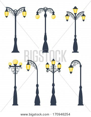 Retro streetlights vector illustration. Vintage street lamps and gas lanterns isolated on white background