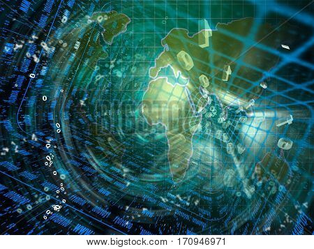 Digital streams and map abstract computer background 3D illustration.