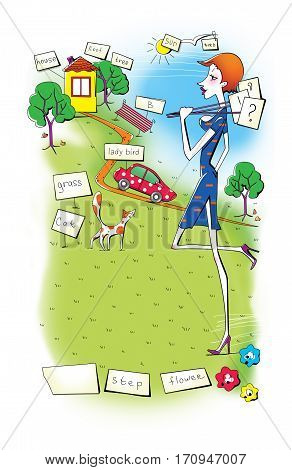 Young woman in blue dress walking on the field near the house and the c with a red car and puts nameplates for memorizing words. Humor