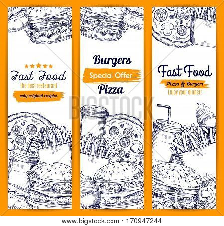 Fast food banners. Vector burgers and pizza, cheeseburger and french fries, hot dog, hamburger and popcorn, ice cream with donut dessert, soda drink and coffee for takeaway or delivery design