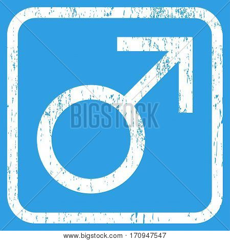 Mars Male Symbol rubber watermark. Vector icon symbol inside rounded rectangle with grunge design and dust texture. Stamp seal illustration. Unclean white ink sign on a blue background.