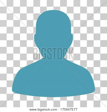 User Account icon. Vector illustration style is flat iconic symbol cyan color transparent background. Designed for web and software interfaces.