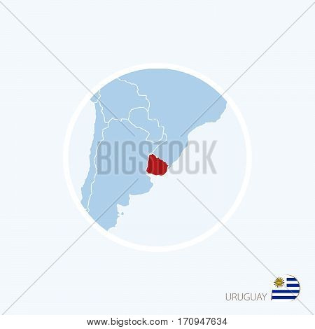 Map Icon Of Uruguay. Blue Map Of America With Highlighted Uruguay In Red Color.