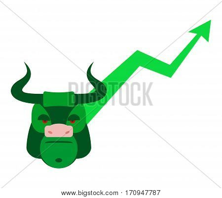 Green Bull Up Arrow. Exchange Trader Illustration. Business Concept
