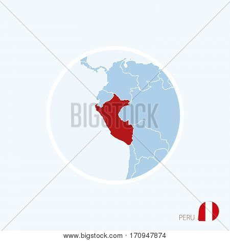 Map Icon Of Peru. Blue Map Of Europe With Highlighted Peru In Red Color.