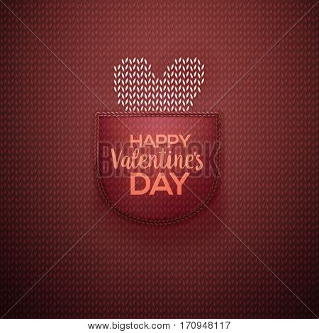 White knitted heart in wool knitted burgundy pocket with lettering Happy Valentines Day. Knitted textile background for Valentines Day. Vector illustration