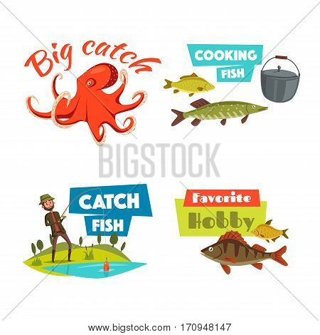 Fishing cartoon symbol set. Fisherman fishing with spinning rod on lake, trophy fish, octopus and cooking pot with caption Big Catch, Favorite Hobby and Catch Fish. Sport and leisure activity design