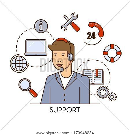 Global technical support vector concept design with man support operator. Outline flat illustration.