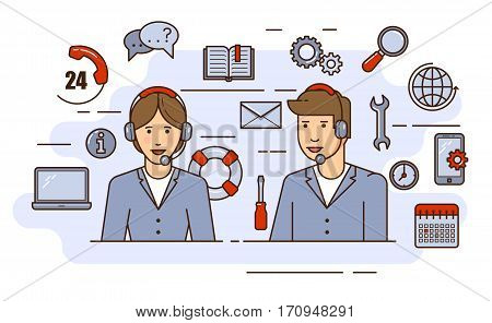 Global technical support vector concept design with specialist ready to solve any problem. Outline flat illustration.